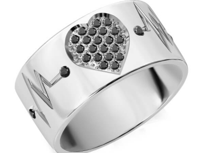 טבעת נישואין משובצת