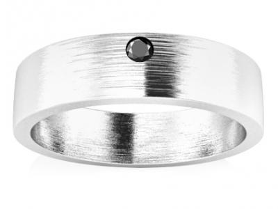 טבעת נישואים עם יהלום שחור קטן
