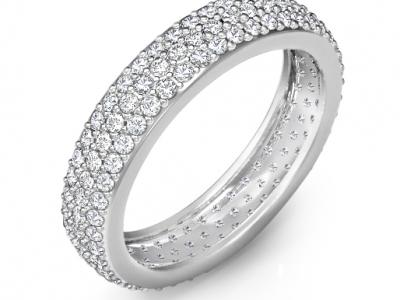 טבעות יהלומים שלוש שורות יהלומים לבנים
