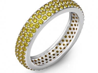 טבעת משובצת יהלומים צהובים