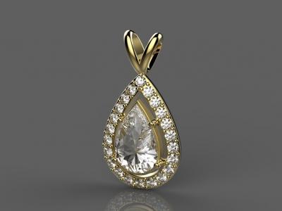 תכשיטי יהלומים אבן חן גדולה בצורת טיפה מסוג ספיר