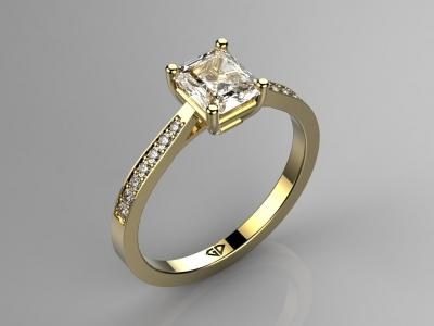 טבעות אירוסין מעוצבות טבעת אירוסין יהלום מרובע