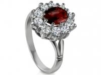 טבעת וינטז טבעות דיאנה אבן רובי מסביב יהלומים