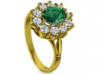 טבעת וינטז טבעות דיאנה אבן אמרלד ברקת מסביב יהלומים