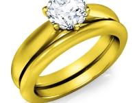 טבעת אירוסין משולבת עם טבעת נישואין סט מושלם של טבעות נישואין ואירוסין
