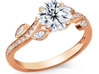 טבעת זהב יהלום בחיתוך פרח