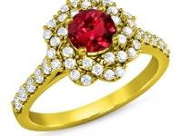 טבעות יהלומים זהב צהוב פרח יהלומים שבמרכזו אבן חן רובי