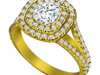 טבעת יהלומים מרובעת 2 שורות יהלומים