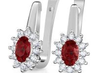 עגילי יהלומים ורובי
