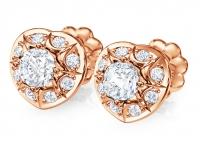 עגילי יהלומים בצורת לב