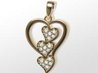 שרשרת זהב לבבות יהלומים