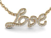תליון יהלומים עם המילה אהבה LOVE
