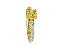 טבעת זהב צהוב טבעת אבן חן שמפניה