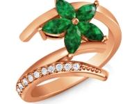 טבעת זהב אדום טבעת פרח אבן חן ברקת אמרלד
