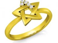 טבעת מגן דויד מזהב ויהלומים
