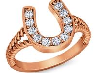 טבעת זהב בעיצוב פרסה יהלומים