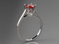 טבעת לבן זהוב אבן חן רובי