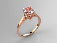 טבעת זהב אדום אבן חן ורודה