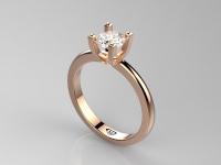 טבעת זהב אדום לאירוסין עם יהלום