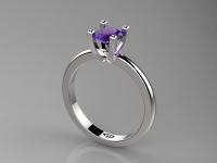 טבעת אירוסין אבן סגולה  1קארט