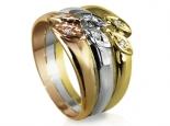 טבעת 3 צבעים זהב ויהלומים מעוצבת וגדולה