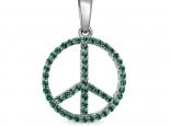 סמל השלום בתליון אבני חן אמרלד או רובי Emerald Ruby Sapphire