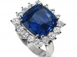 טבעת ספיר ויהלומים טבעת הנסיכה דיאנה