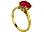 טבעת קלסית בעיצוב נקי עם אבן חן גדולה קארט ומעלה