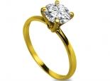 טבעת יהלום טבעת אירוסין עדינה ופשוטה זהב צהוב