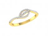 טבעת זהב ויהלומים בעיצוב טוויסט