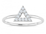 טבעת זהב ויהלומים עדינה בעיצוב משולש