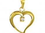 תליון בצורת לב לא סימטרי אלגנטי במיוחד בשיבוץ יהלום מרכזי