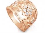 טבעת מעצבים מעוצבת עם פרחים ויהלומים טבעת אומנות
