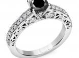 טבעת אירוסין יוקרתית יהלום שחור- עיצוב וינטג'