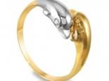 """טבעת זהב ויהלומים מעוצבת כראשי דולפינים - """"POSEIDON"""""""