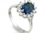"""טבעת וינטג' דגם דיאנה עם אבן ספיר כחולה במרכז - """"MERCURY"""""""