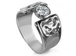 טבעת מעוצבת מרשימה עם יהלום  חצי קרט זהב לבן