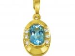 תליון לשרשרת עם אבן חן כחולה ויהלומים