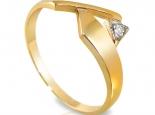 """טבעת זהב מעוצבת בעיצוב לא שיגרתי עם יהלום קטן - """"MARS"""""""