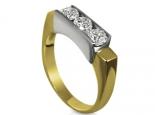 טבעת בשתי צבעי זהב ליהלומים מרובעים או עגולים