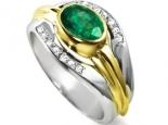 טבעת מעוצבת מודרנית עם אבן חן אובל אמרלד רובי ספיר בעיצוב יהלומים 2 שורות