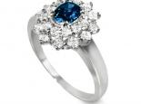 טבעת וינטג' דיאנה עם שתי שורות יהלומים ואבן חן רובי או אמרלד מרכזית