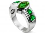 טבעת בעיצוב חדשני טבעת עם אבן חן בצורת מרקיזה אמרלד ספיר או רובי