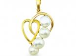 """תליון זהב בצורת לב מעוצב עם פנינים - """"POSEIDON"""""""