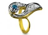 טבעת בעיצוב בית פברז'ה עם יהלומים ואבן חן צבעונית אפשרות לסט עם עגילים תואמים