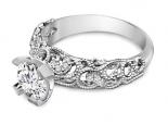 טבעת יהלומים בסגנון עתיק- טבעת וינטג'- 0.30 קארט מרכזית