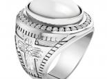 טבעת פנינה מרשימה עם שורה של יהלומים מסביב