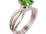 טבעת סוליטר מרשימה בעיצוב טוויסט- אבן חן מרכזית