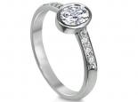 טבעת אירוסין מיוחדת עם יהלום מרכזי משובץ בתוך כוס