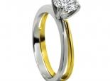 טבעת יהלום בשני צבעי זהב 14K זהב לבן וזהב צהוב